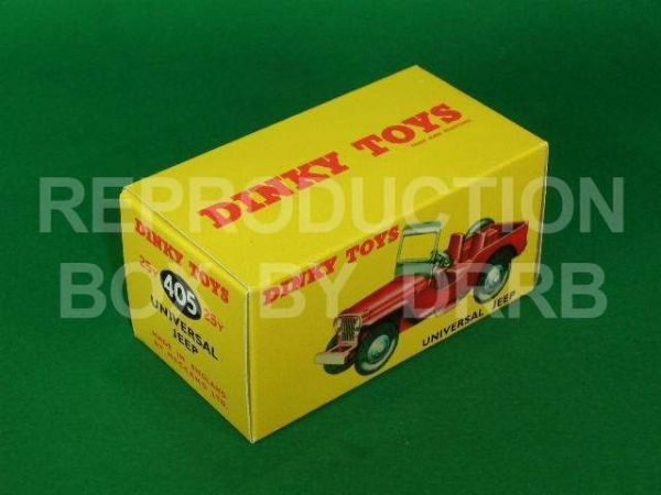 Dinky #405 Universal Jeep - Reproduction Box ( Dinky Toys #405 (25y) Universal Jeep model in the Red finish. )